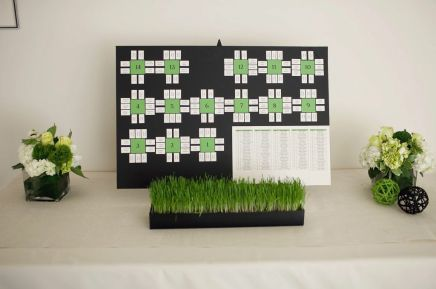 A unique seating chart in the bride's color scheme was streamlined as a mock diagram of the Weaver (reception) room.