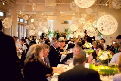 Dinner in the elegant Weaver Room, with suspended yarn ball mobiles.