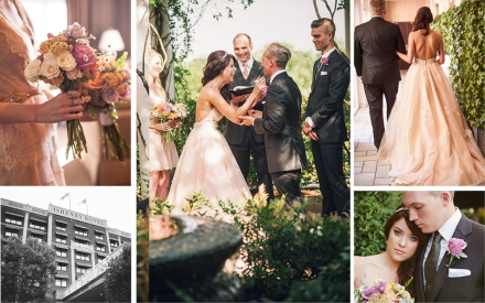 Clockwise: The bride and her bridesmaids carried bouquets of lavender and peach roses, blush spray roses, maidenhair fern, lavender stems, dusty miller and wax flower; Photographer Marie Killen captures a candid moment between Morgan and Drew, during their ceremony; The bride and her father make their way toward the Don Rives Cloister Garden for the ceremony; The newlyweds share a quiet moment in the garden; A black and white photo of the O.Henry Hotel's facade adds to the romance of the day.