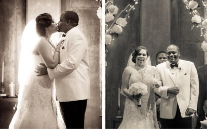 "The first kiss following their ""I dos"" and introduction as husband and wife. Porsha's gown was from the David Tutera Mon Cheri collection."