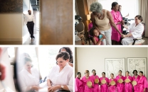 The bride and her attendants prepare in comfort in suites at Proximity Hotel while the groom waited patiently.