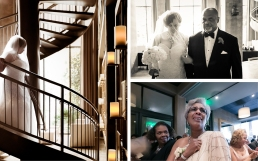 Clockwise, from left:  Porsha descends Proximity Hotel's spiral staircase from her suite to the ceremony; Porsha and her father begin walking down the aisle (her mother joined them halfway); the bride's mother, in a one-shouldered gown by Adriano Patel