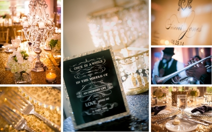 """Elegant vintage and modern elements in opulent metals and crystal combined with florals in cream and green to recall the feeling of """"Summer in Paris,"""" the wedding theme."""