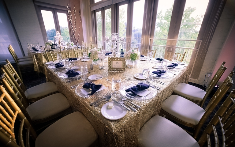 The classic color palette of white, black, and gold with plenty of sparkle
