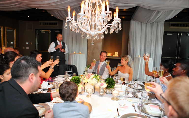 A toast with the couple's favorite sparkling wine -