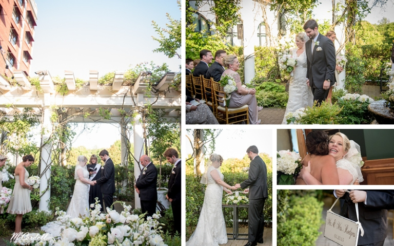 Wedding Ceremony in the Cloister Garden at O.Henry Hotel in Greensboro, NC